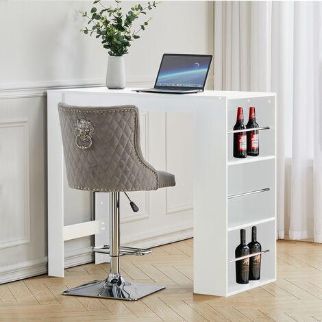 "main image of ""Modern Breakfast Bar Table Pub Kitchen Dining Room Furniture W/ Storage Rack, Black"""