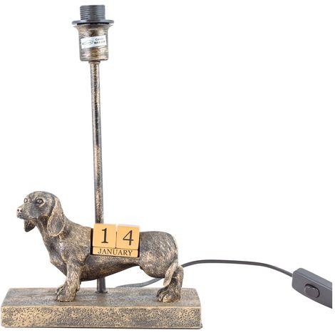 Modern Bronze Dog Calendar Table Lamp Bedside Light Base Study Office Lounge