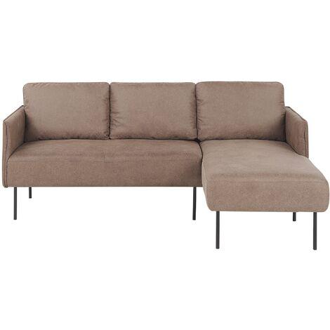 Modern Brown Fabric Couch Corner Sofa Metal Legs Solid Wood Frame Left Hand Verran