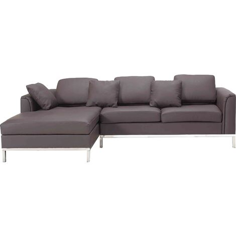 Modern Brown Leather Couch Corner Sofa Stainless Steel Legs Right Hand Oslo