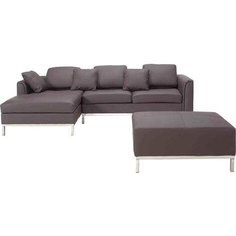 Modern Brown Leather Couch Corner Sofa with Ottoman Right Hand Oslo