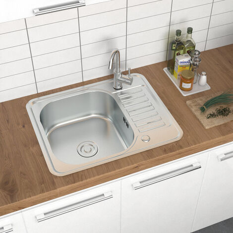 Modern Catering Kitchen Sink Single Bowl Stainless Steel Laundry Topmount Square
