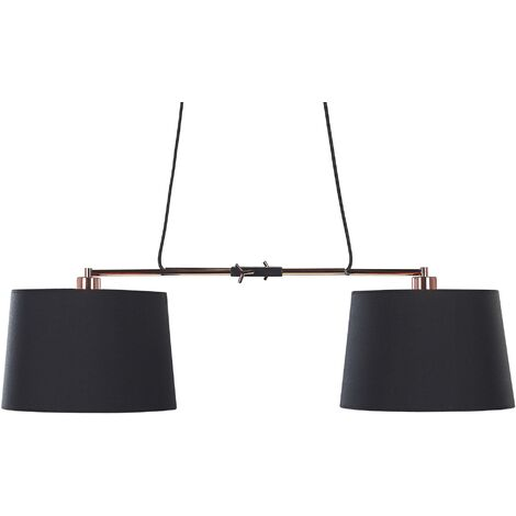 Modern Ceiling Lamp 2 Lights Black with Copper Polyester Shade Metal Base Fucino