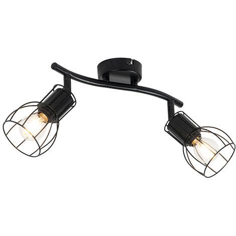 Modern ceiling lamp black 2-light adjustable - Botu