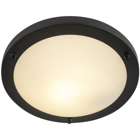 Modern ceiling lamp black IP44 - Yuma 31