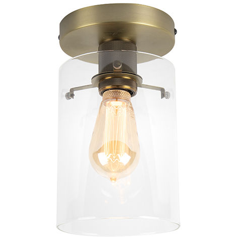 Modern Ceiling Lamp Bronze with Glass Shade - Dome