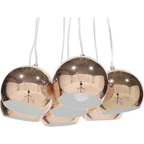 Modern Ceiling Light Copper Glossy Metal Round Shade Multiple Olza