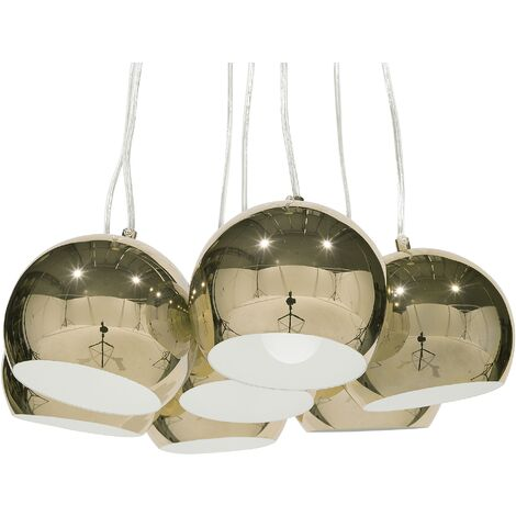 """main image of """"Modern Ceiling Light Gold Glossy Metal Round Shade Multiple Olza"""""""