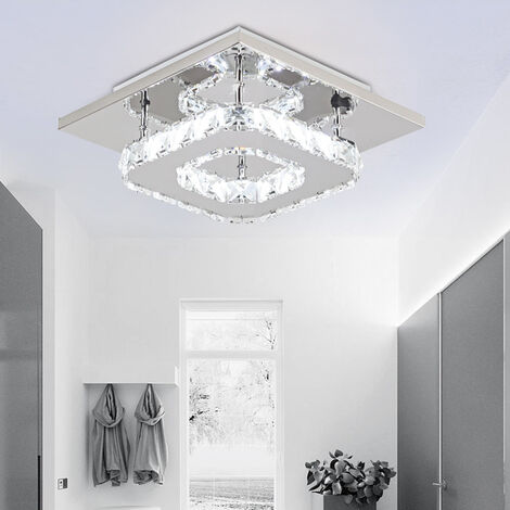 Modern Ceiling Light K9 Crystal Chandelier Clear Glass Ceiling Lamp LED for Living Room Bedroom Office Cool White