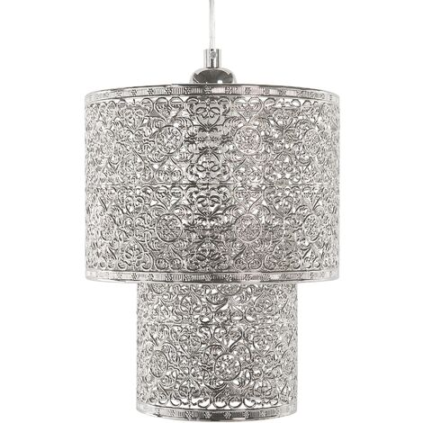 """main image of """"Modern Ceiling Light Pendant Lamp Double Shade Glossy Metal Silver Osun"""""""
