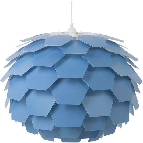Modern Ceiling Pendant Light Blue Geometric Shade Flower Design Large Segre