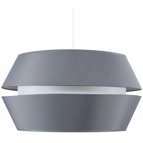 Modern Ceiling Pendant Light Shade Large Grey With Diffuser Lightbulb - Grey