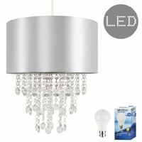 Modern Ceiling Pendant Light Shade with Acrylic Jewel Droplets + 6w LED GLS Bulb