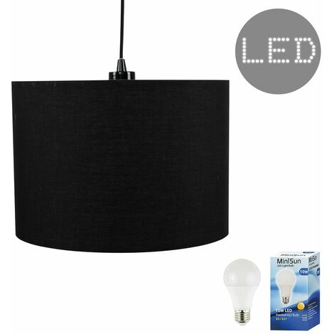 Modern Ceiling Rose Braided Flex Lampholder Pendant Light With A Cotton Shade - 10W Led Gls Light Bulb