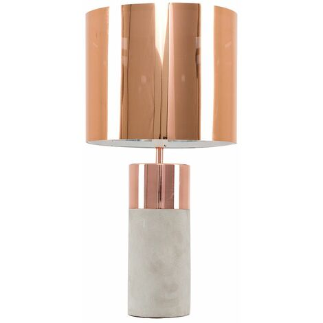 Modern Cement Table Lamp with a Cotton Light Shade