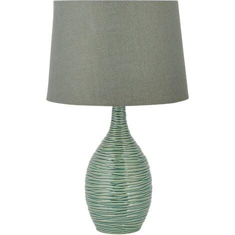 Modern Ceramic Base Bedside Lamp Table Light Green Matching Shade Atsas