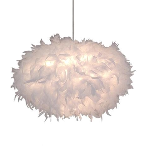 Modern Chandelier Ø45cm Creative Romantic Ceiling Lamp Pure White Feather Pendant Light Nordic Hanging Light E27