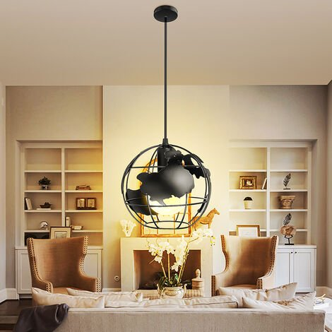 Modern Chandelier Globe Suspension E27 Earth Shaped Metal Black Ceiling Light