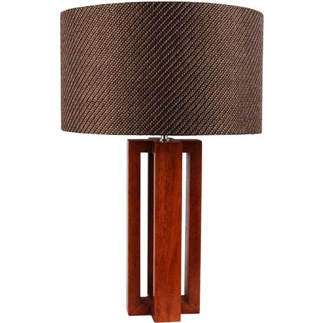 Modern Cherrywood and Chrome Table Lamp Bedside Light w/Woven Taupe Fabric Shade