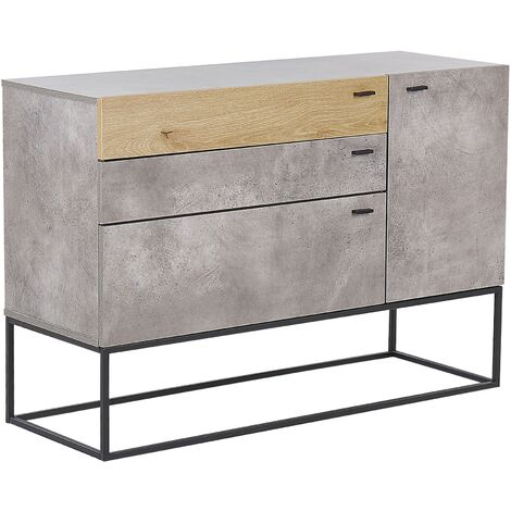 Modern Chest of Drawers Metal Black Base 3 Drawers Light Wood and Grey Arietta