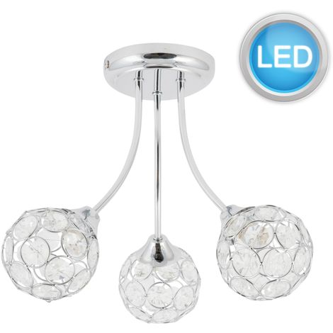 MODERN CHROME 3 ARM CEILING LIGHT CHANDELIER JEWELLED OR BUBBLED SHADES LED Bulb