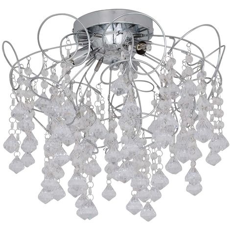 Modern Chrome 3 Light Acrylic Crystal Jewelled Flush Ceiling Fitting Chandelier