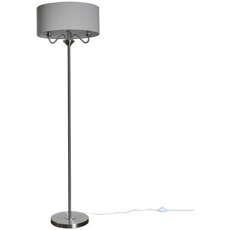 Modern Chrome 3 Way Multi Arm Floor Lamp Grey Linen