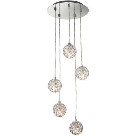 Modern Chrome 5 Light Cluster Ceiling Pendant Fitting with Jewelled Shades