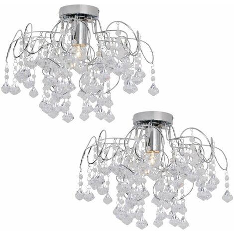 Modern Chrome & Acrylic Crystal Jewel Drops Semi Flush Ceiling Light Fitting
