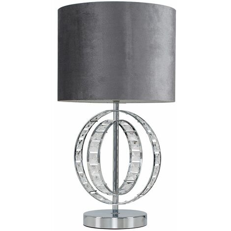 Modern Chrome Acrylic Jewel Intertwined Double Hoop Design Touch Table Lamp + Grey Velvet Cylinder Light Shade