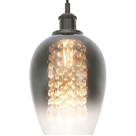 Modern Chrome and Clear Glass Pendant Shade with Hanging Crystal Glass Beads by Happy Homewares
