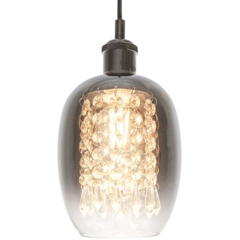 Modern Chrome and Clear Glass Pendant Shade with Hanging Crystal Glass Droplets by Happy Homewares
