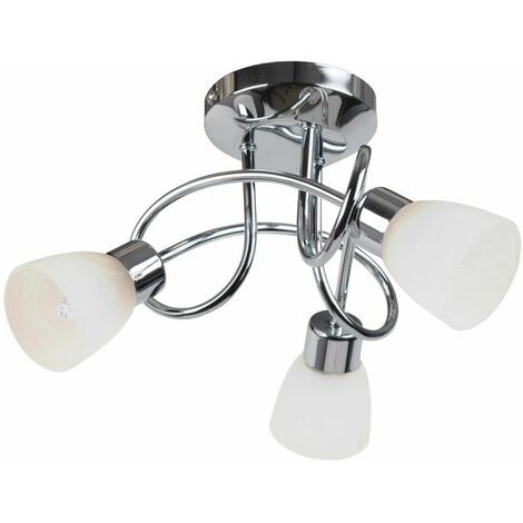 Modern Chrome and Glass 3 Way Flush Spiral Ceiling Fitting
