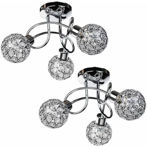 Pair of Modern Jewelled Chrome 3 Light Ceiling Fittings with Clear Acrylic Beads