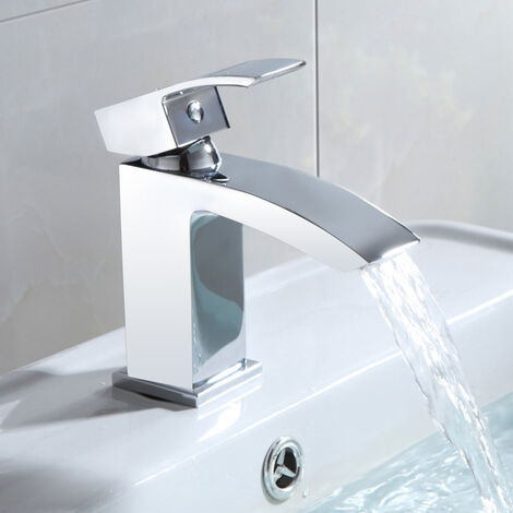 Modern Chrome Bathroom Waterfall Basin Mono Mixer Tap + Waste