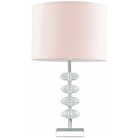 Modern Chrome & Clear Stacked Genuine Crystal Table Lamp + Pink Shade