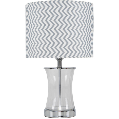 Modern Chrome Amp Curved Acrylic Cylinder Touch Table Lamp