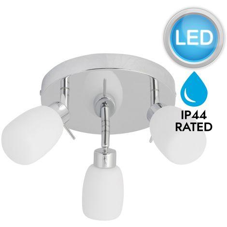 Modern Chrome & Glass 3 OPTIONS Round IP44 Bathroom Ceiling Spot with LED Bulbs