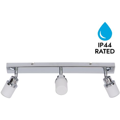 Modern Chrome & Glass 3 Way IP44 Bathroom Ceiling Spot Light Adjustable Fitting