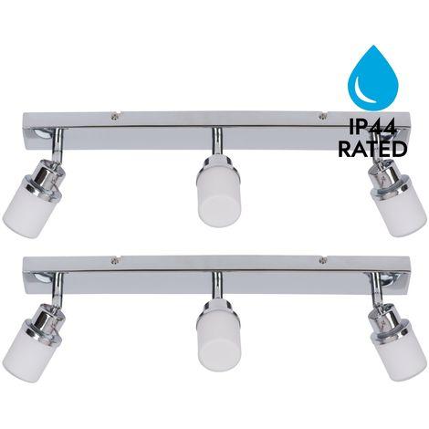 Modern Chrome & Glass 3 Way IP44 Bathroom Ceiling Spot Light Adjustable Fitting