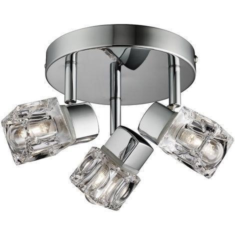 Modern Chrome Ice Cube 3 Light IP44 Bathroom Spotlight