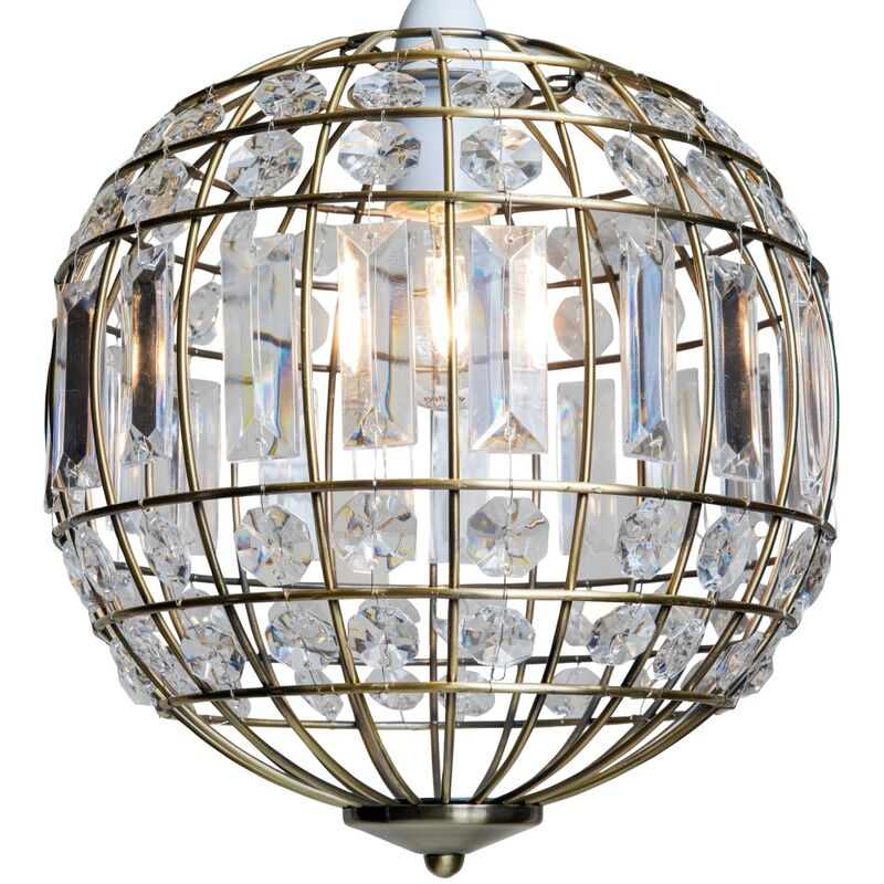 Clear Jewelled Acrylic Pendant Shade Chandelier Style