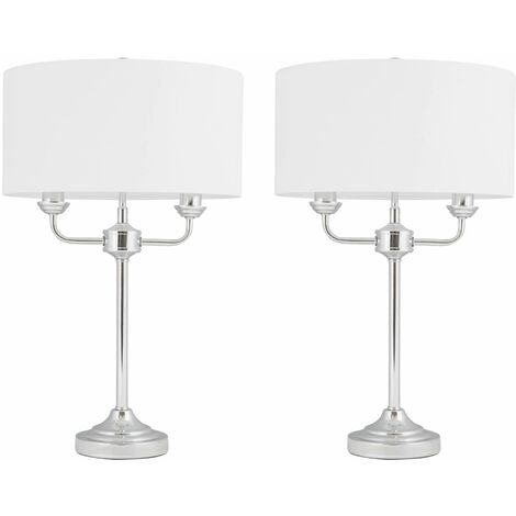 Modern Chrome or Antique Brass Twin Arm Table Lamp Bedside Cream or Grey Shades