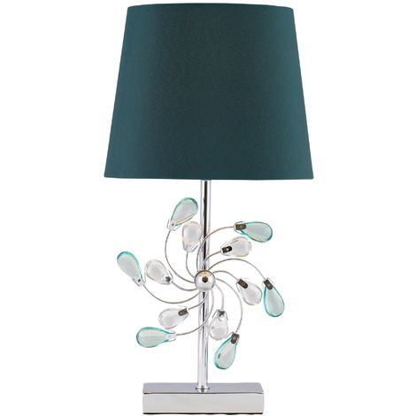 Modern Chrome Table Lamp Bedside Light with Jewels and Teal Fabric Lamp Shade