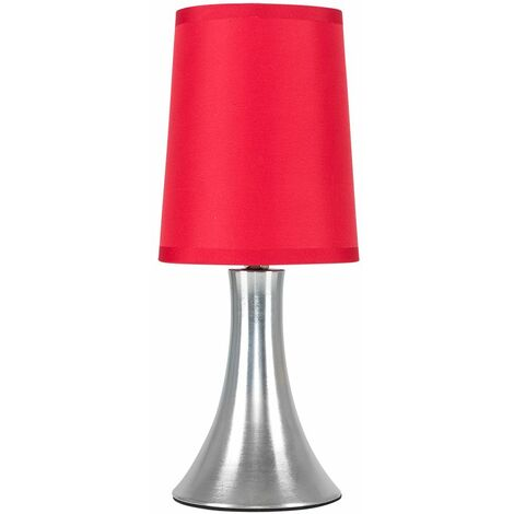 Modern Chrome Touch Table Lamp With Red Fabric Shade