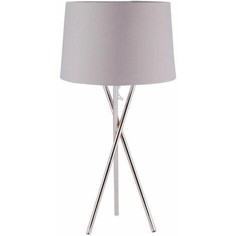 Modern Chrome Tripod Table Lamp Bedside Light with Grey White or Black Shade