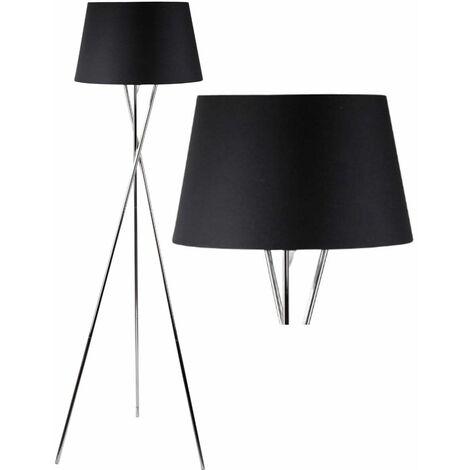 Modern Chrome Twist Tripod Floor Lamp Standard Light Grey White or Black Shade