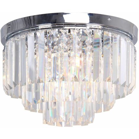 Modern Chrome Two Tier Crystal Chandelier Ceiling Flush Pendant
