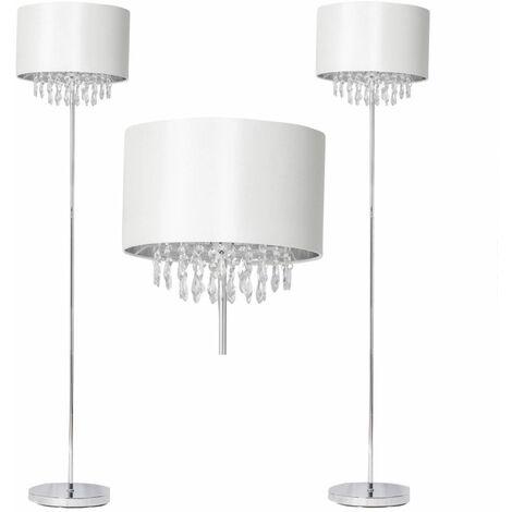 Modern Chrome w/ Off White Cream Silk Shade Jewelled Floor Light Standard Lamp