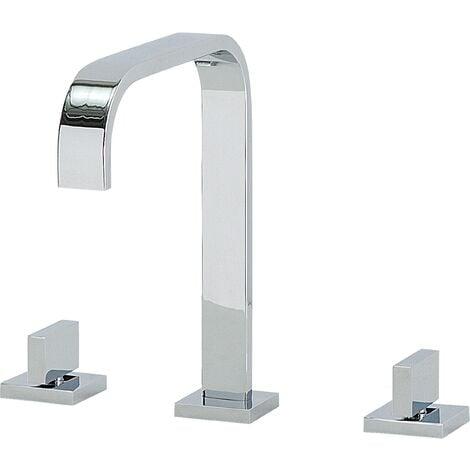Modern Chromed Bathroom Basin Tap Mixer Sink Tap Twin Levers Kagera